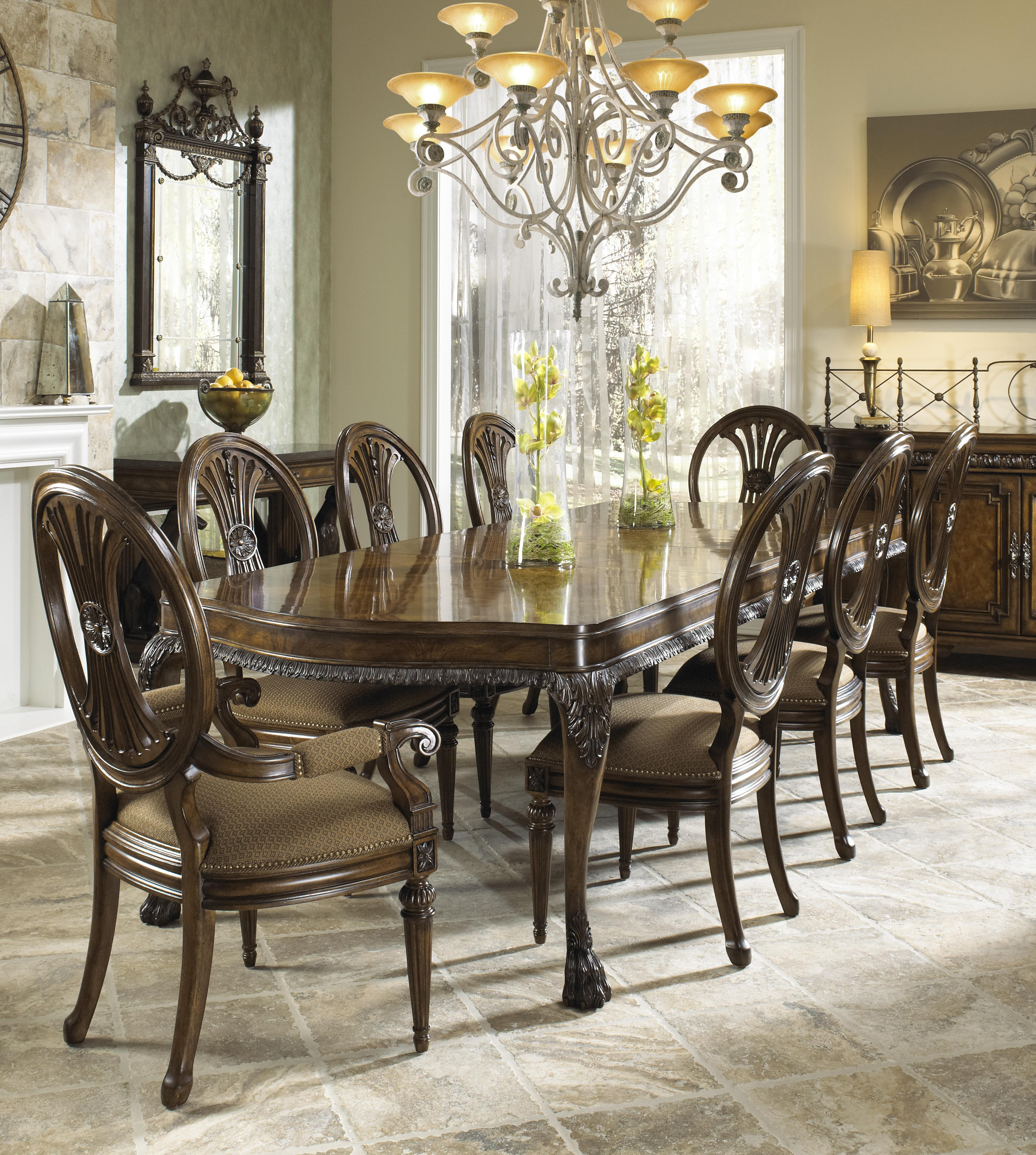 Ordinaire Nine Piece Formal Dining Set With Two Arm Chairs And Six Side Chairs