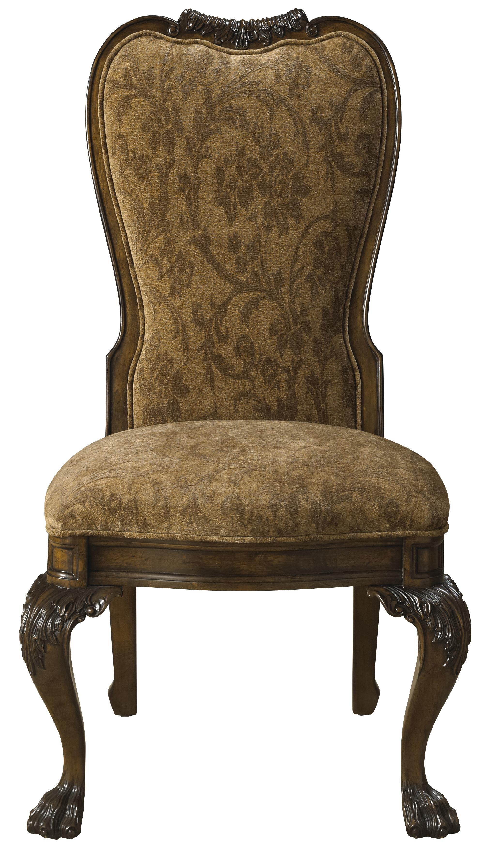 Formal Upholstered Back Dining Arm Chair Furnished With Arabesque Pattern