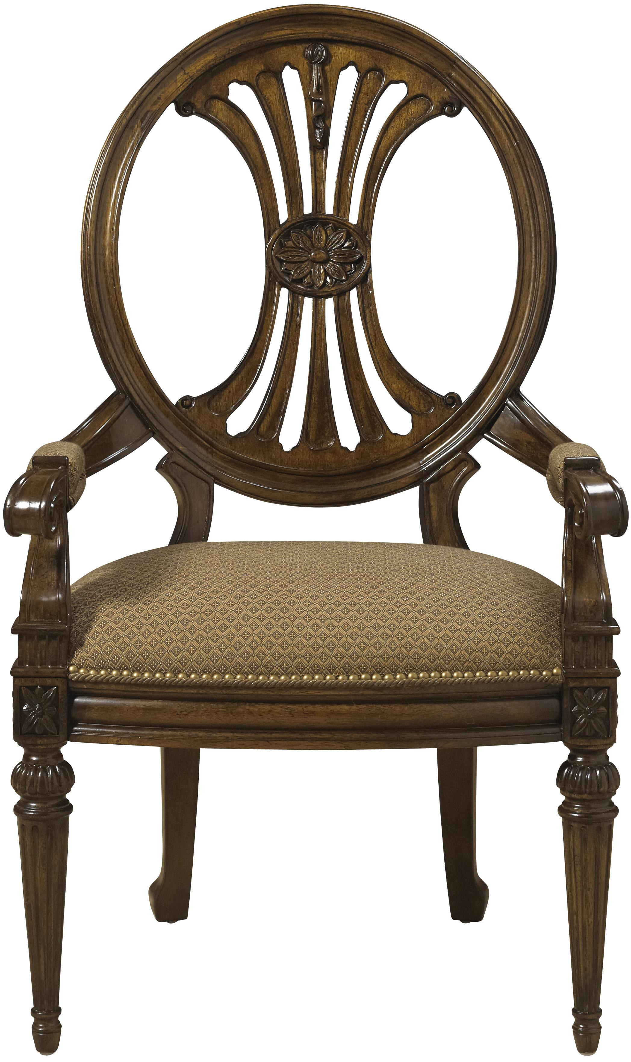 Traditional Antique Style Dining Arm Chair With Coffee Colored Upholstery
