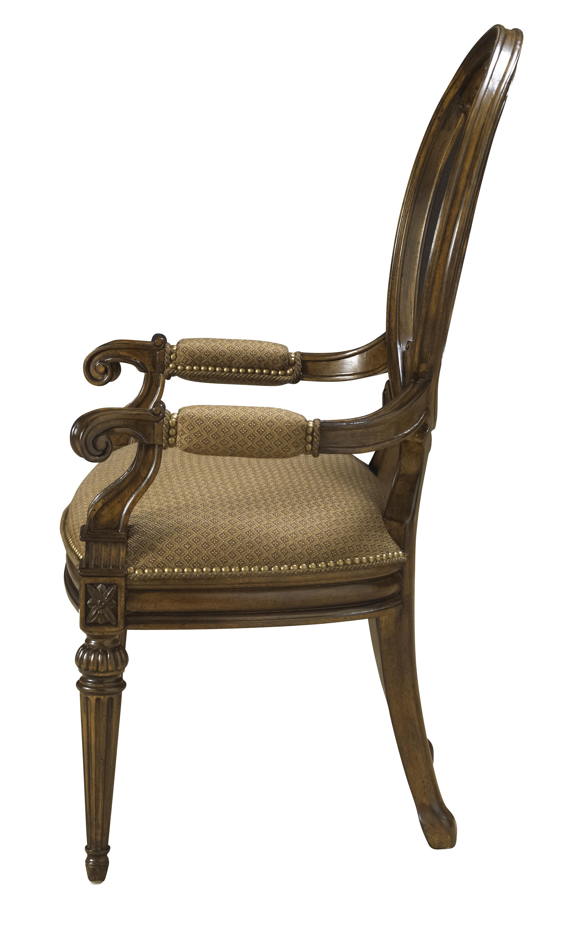 Traditional Antique Style Dining Arm Chair With Coffee Colored