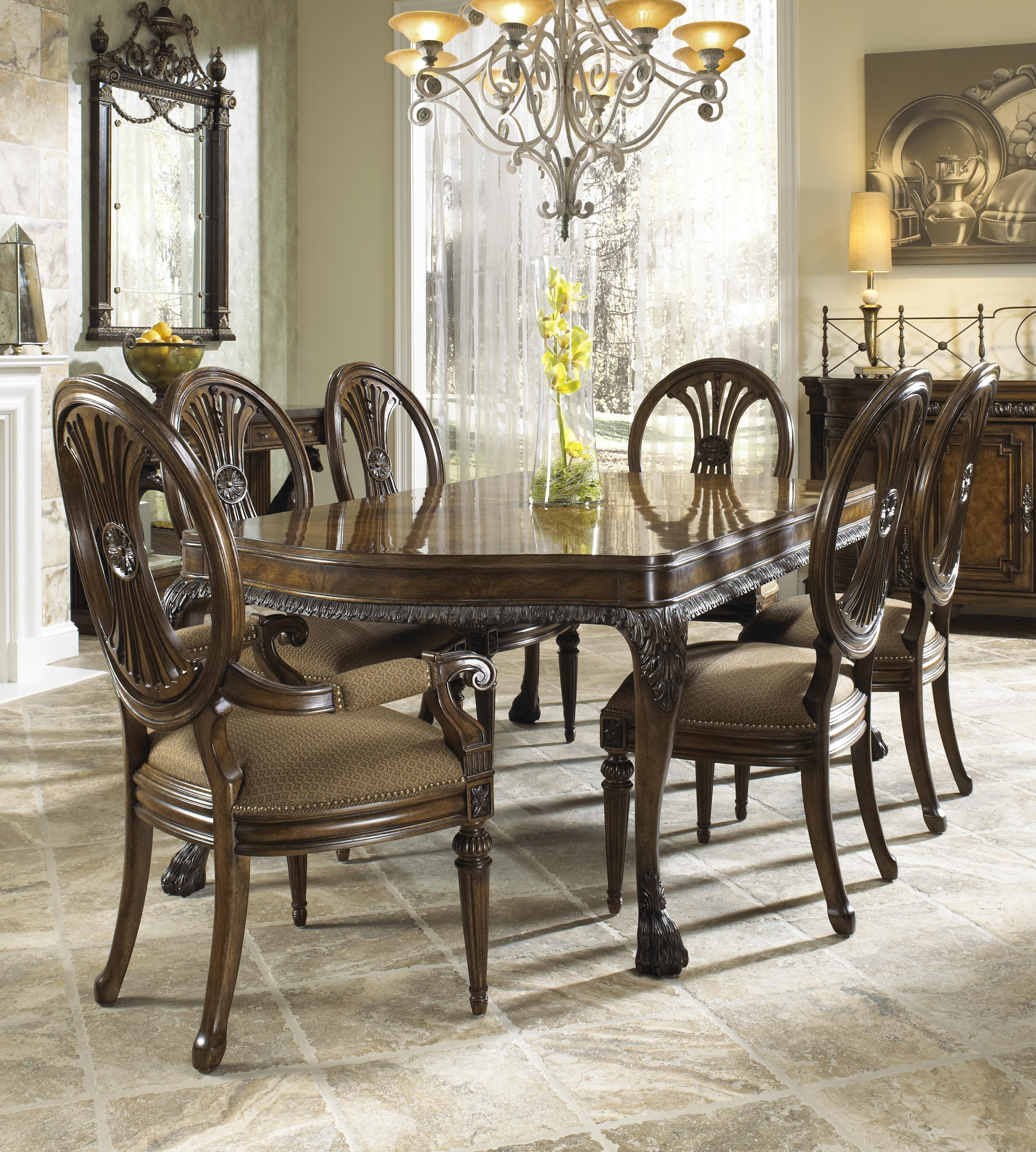 Antique upholstered chair styles - Traditional Antique Style Dining Arm Chair With Coffee Colored Upholstery