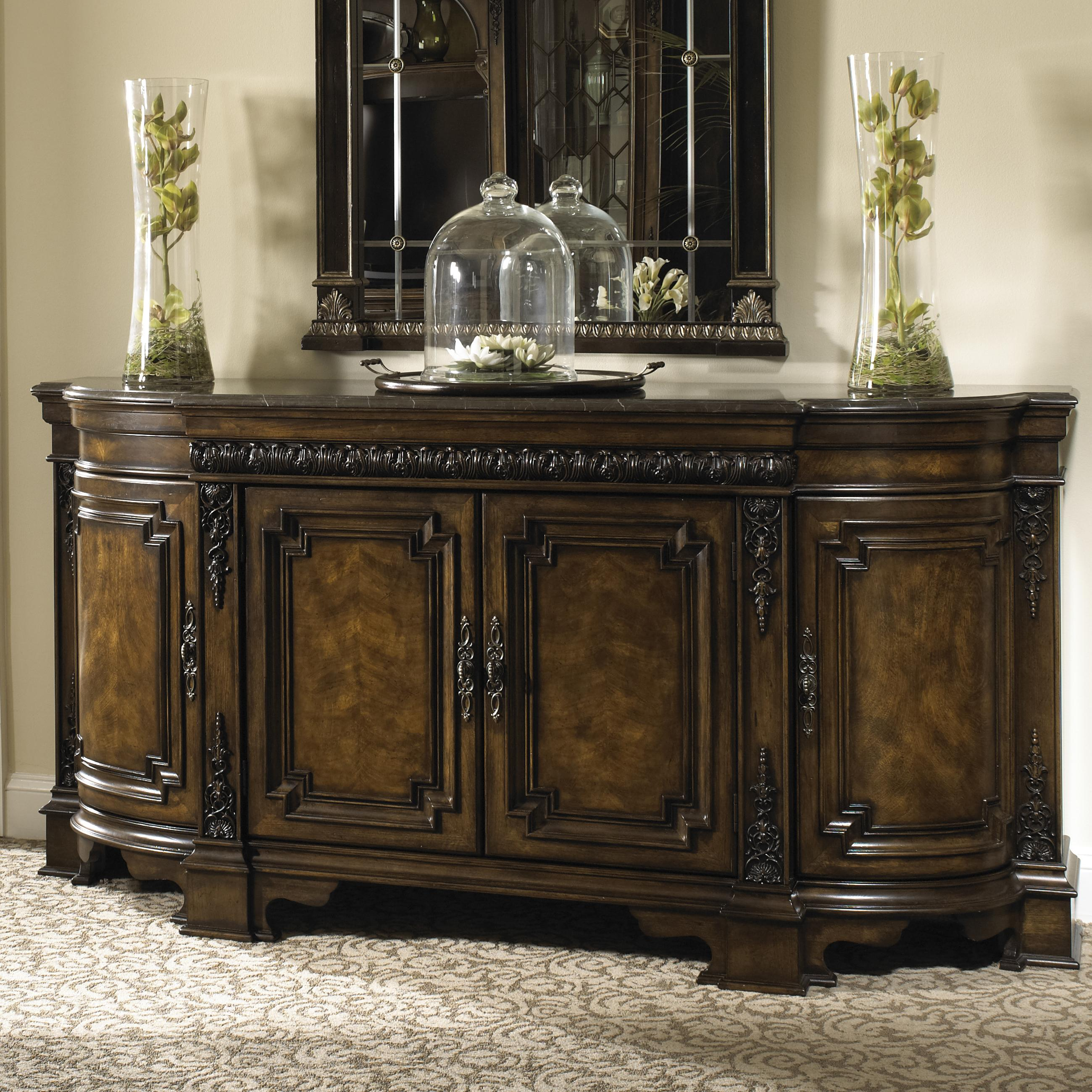 Dining Credenza With Wood Top Gallery Rail And Silverware Storage Buffet