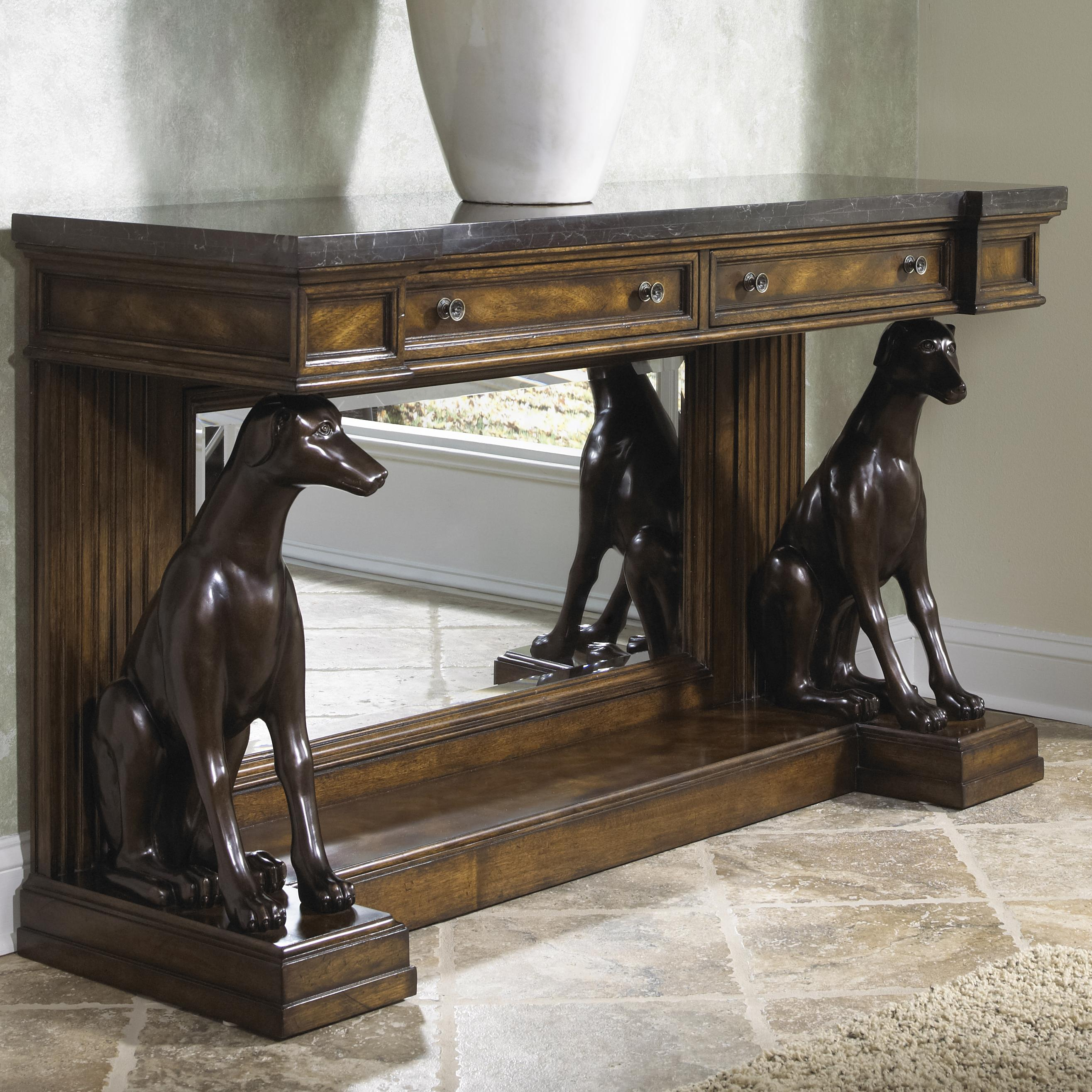 Traditional Antique Console Table with Marble Top and Greyhounds by