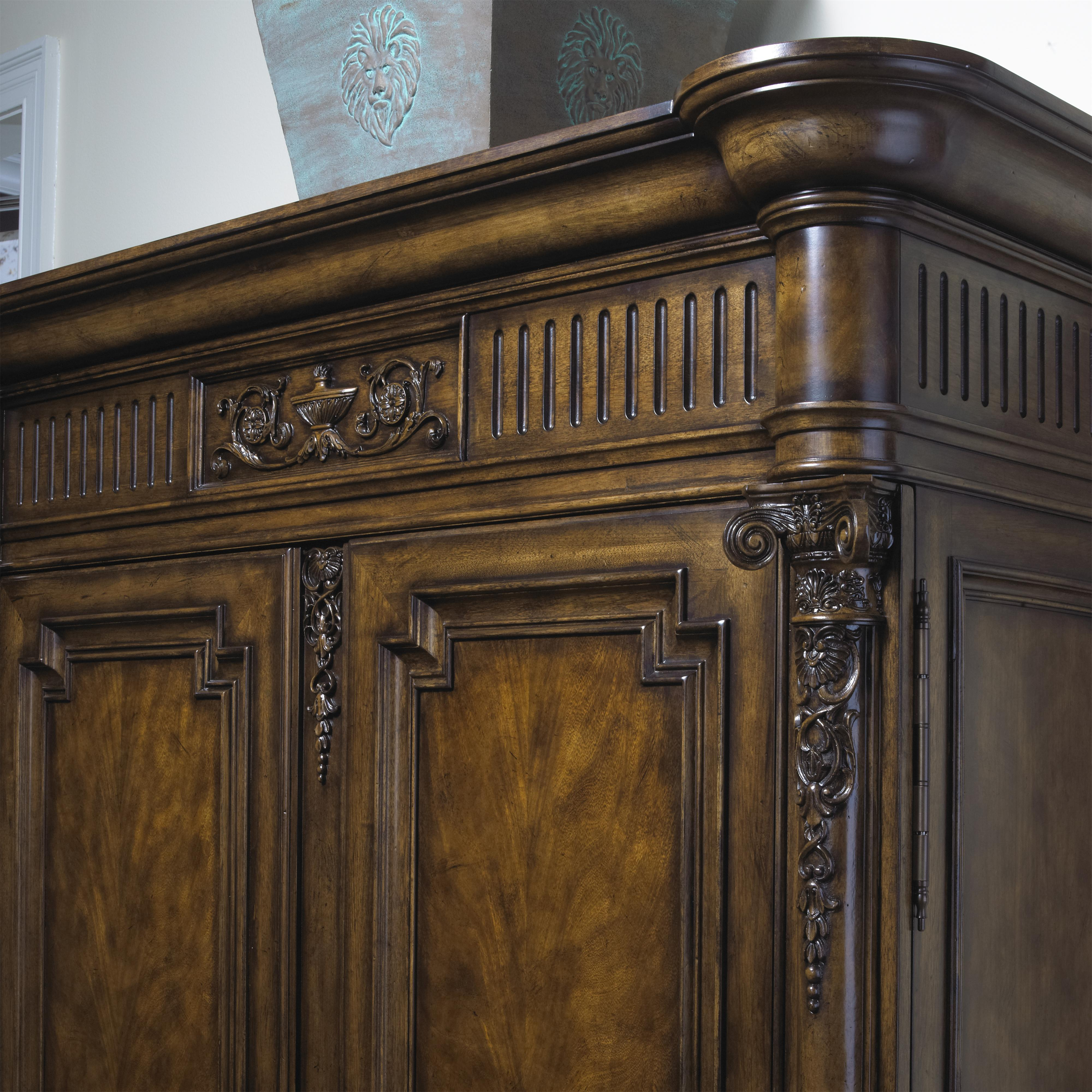 Traditional Antique Hand Carved Media Cabinet with Six Drawers