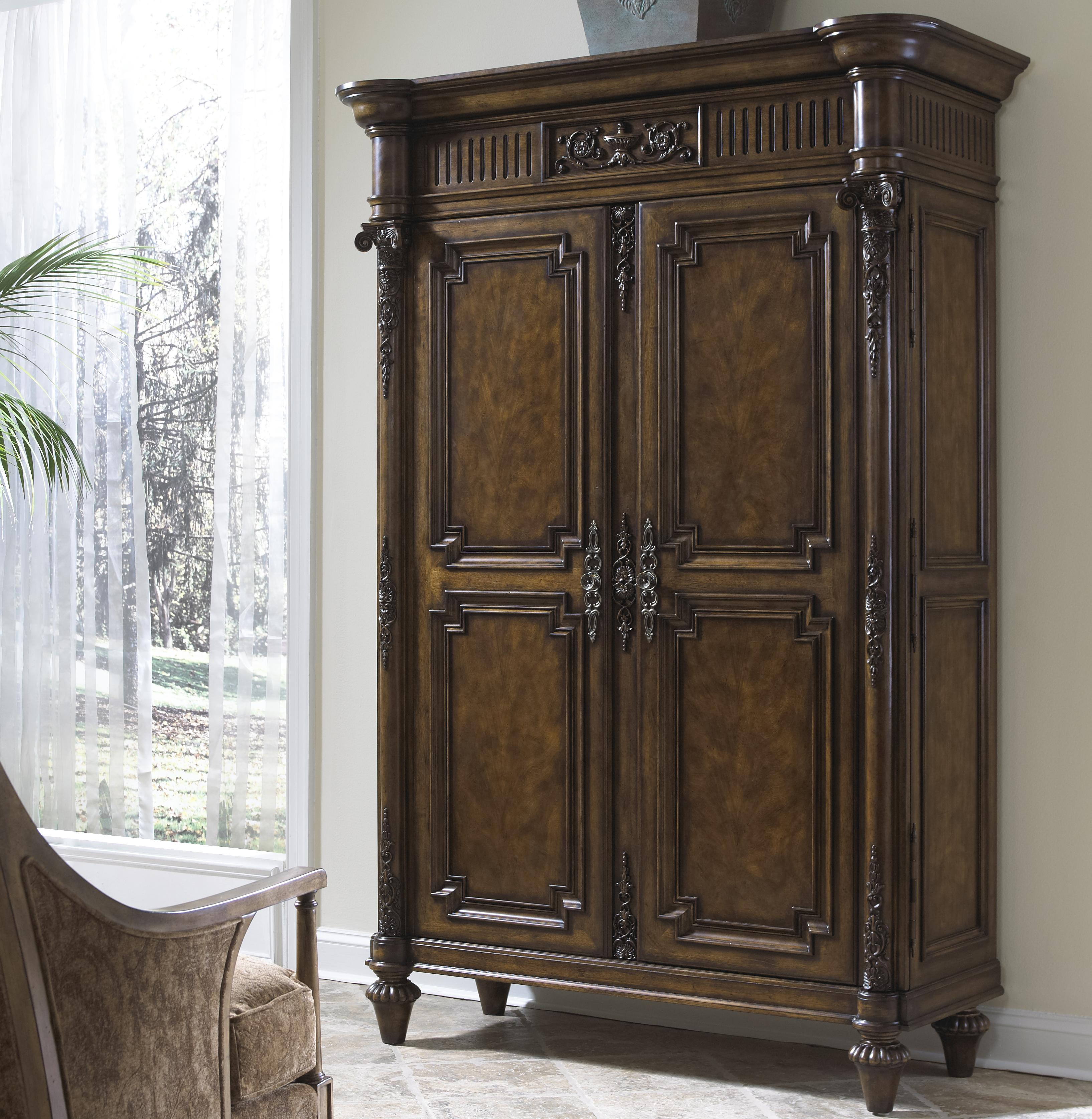 Traditional Antique Hand Carved Media Cabinet With Six Drawers, One Shelf  And Extra Storage