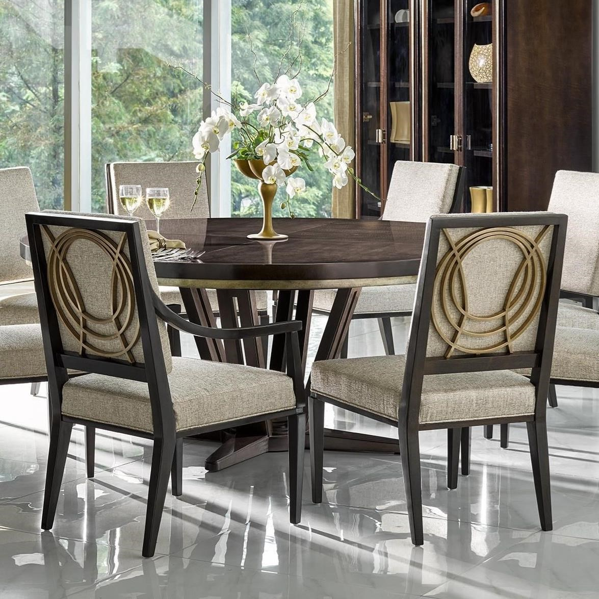 Le Cercle 72 Round Single Pedestal Dining Table With Lazy Susan By