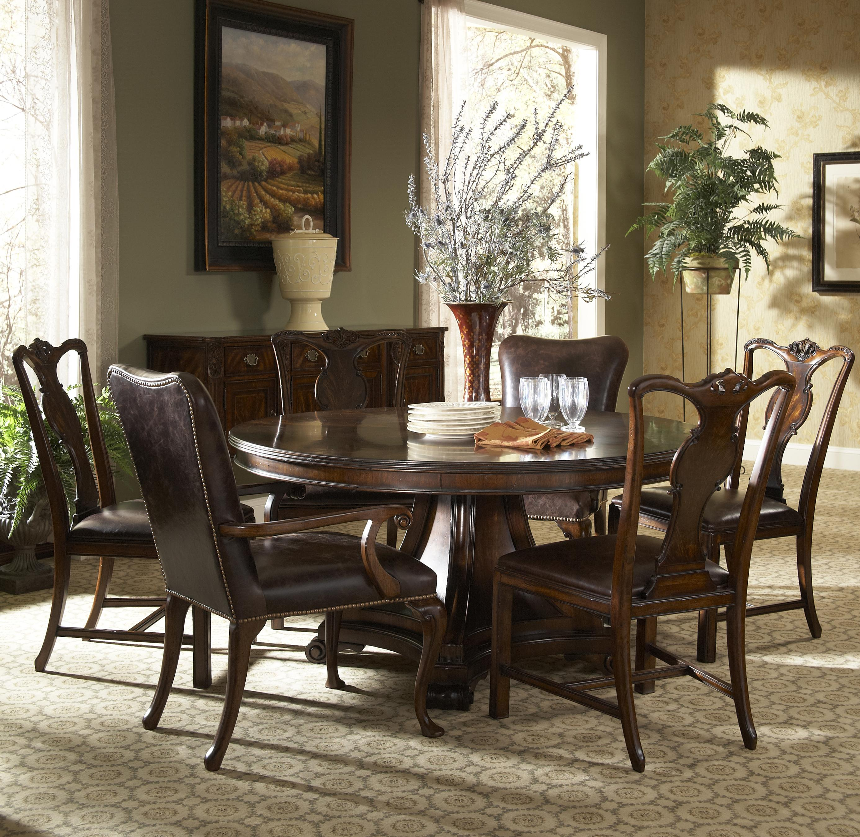 7 Piece Round Dining Table With Splat Back Side Chairs And Leather Arm