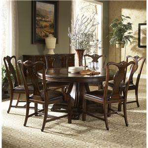 7 Piece Round Dining Table And Splat Back Side Arm Chairs Upholstered In Leather