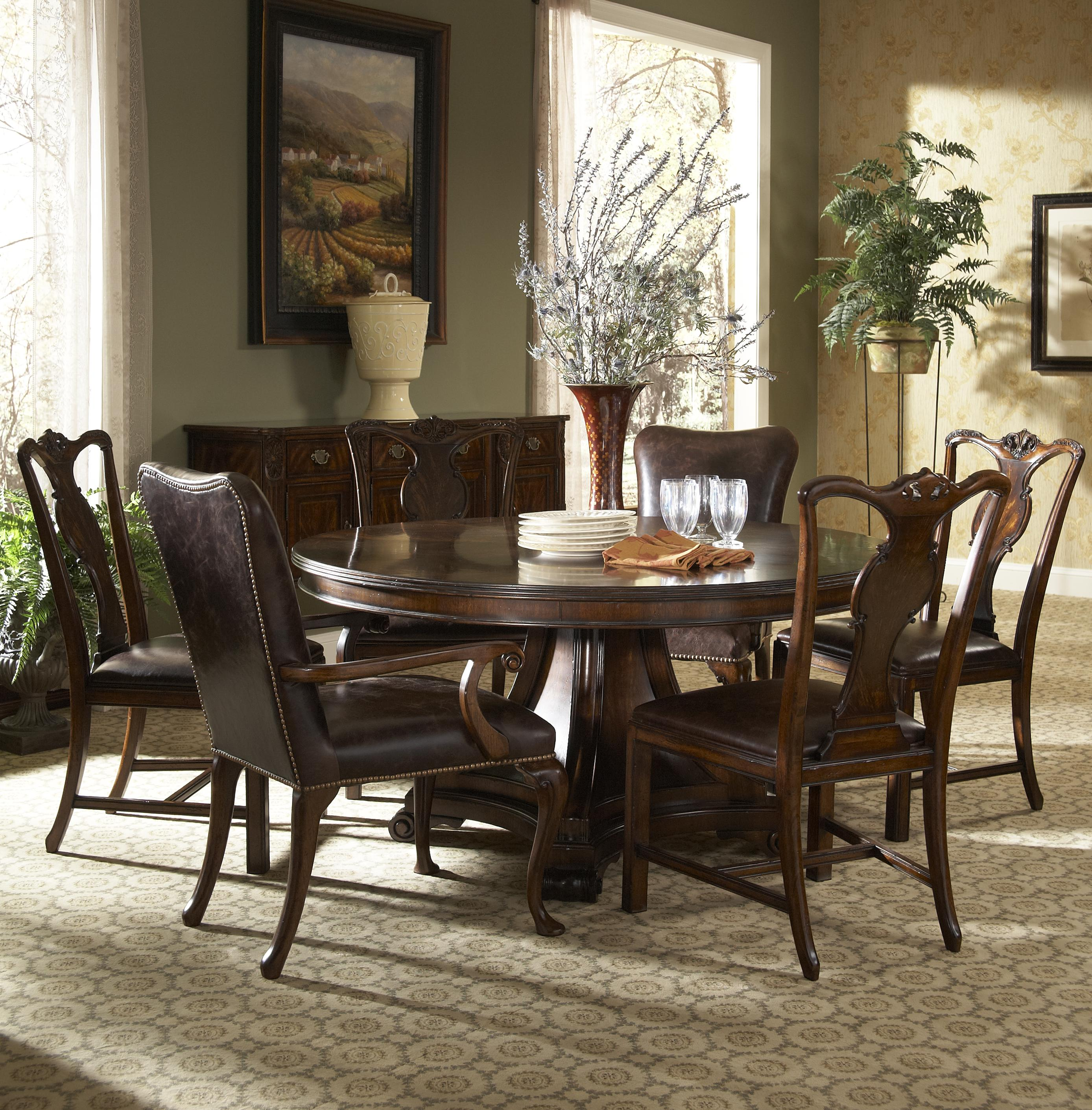 Traditional Round Dining Table with Inlay by Fine Furniture Design