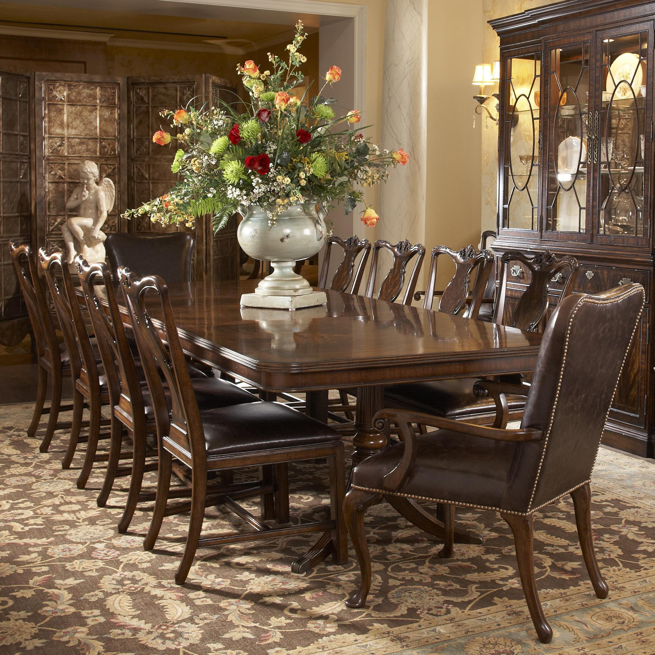 11 Piece Double Pedestal Dining Table And Splat Back Side Chair With Leather Upholstered Arm Chairs