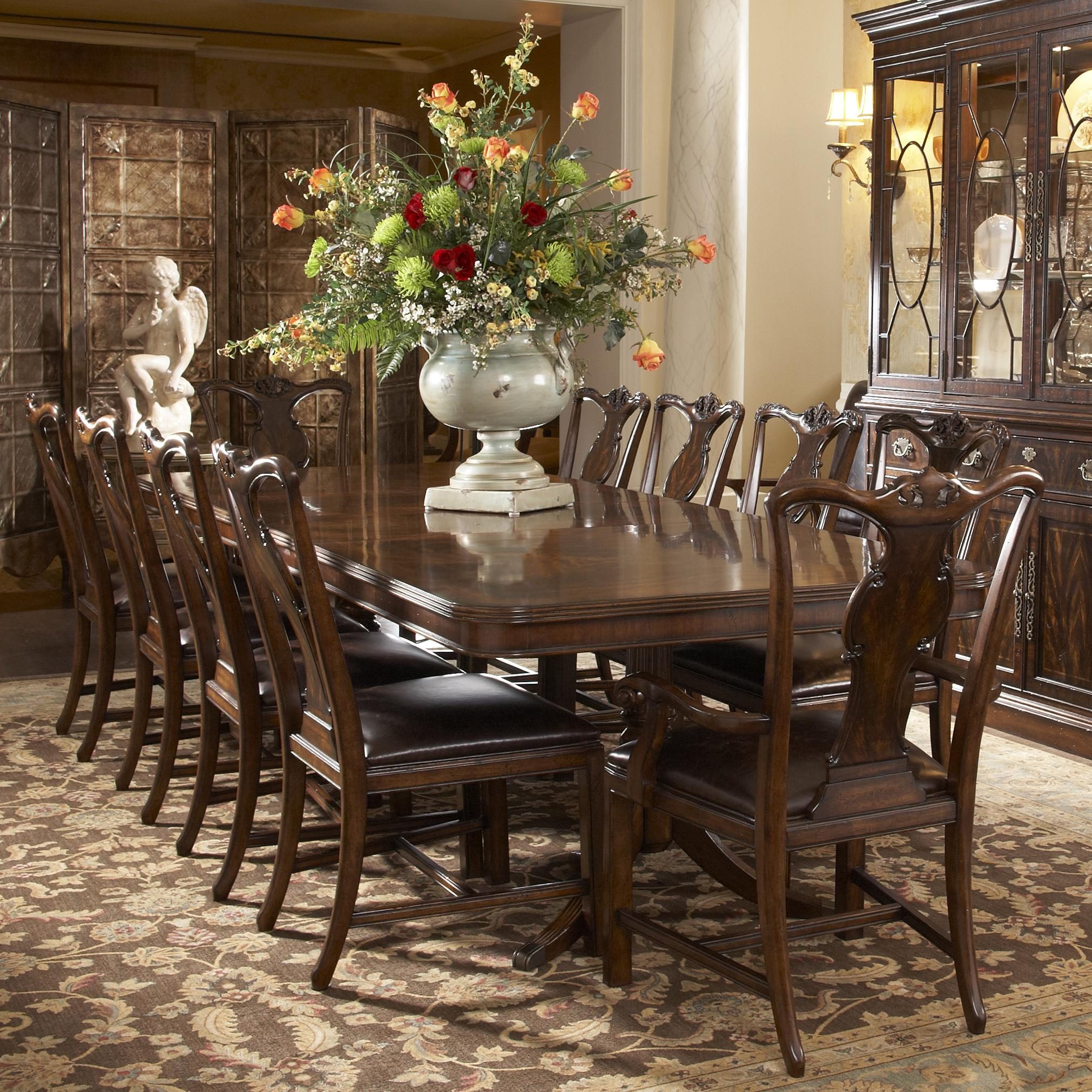Traditional rectangular double pedestal dining table by for Fine dining room furniture