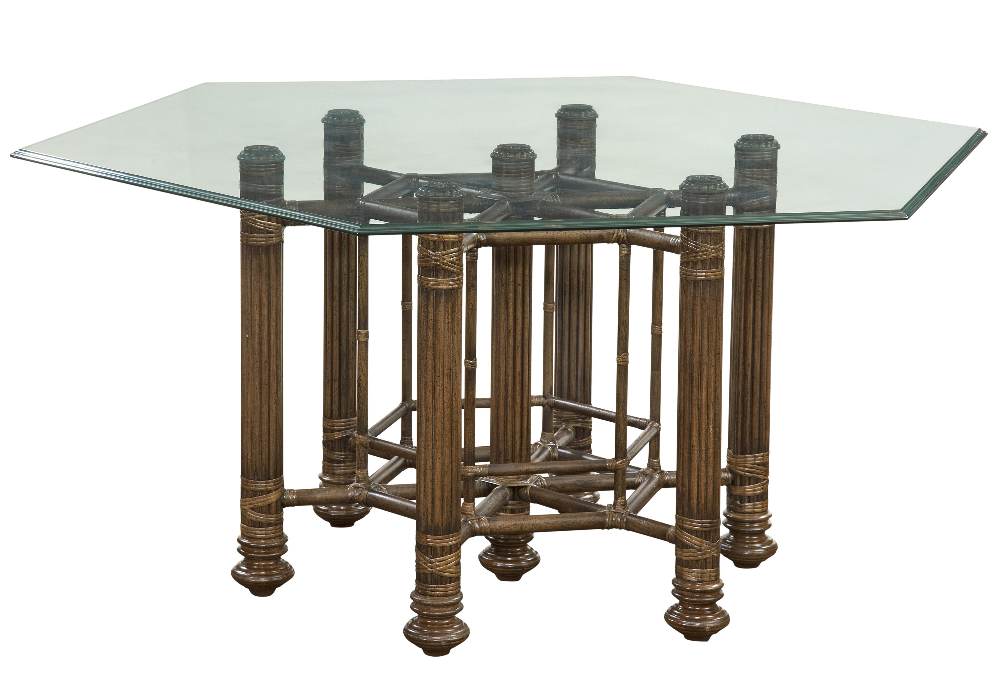 Makira dining table with hexagon glass table top by fine furniture