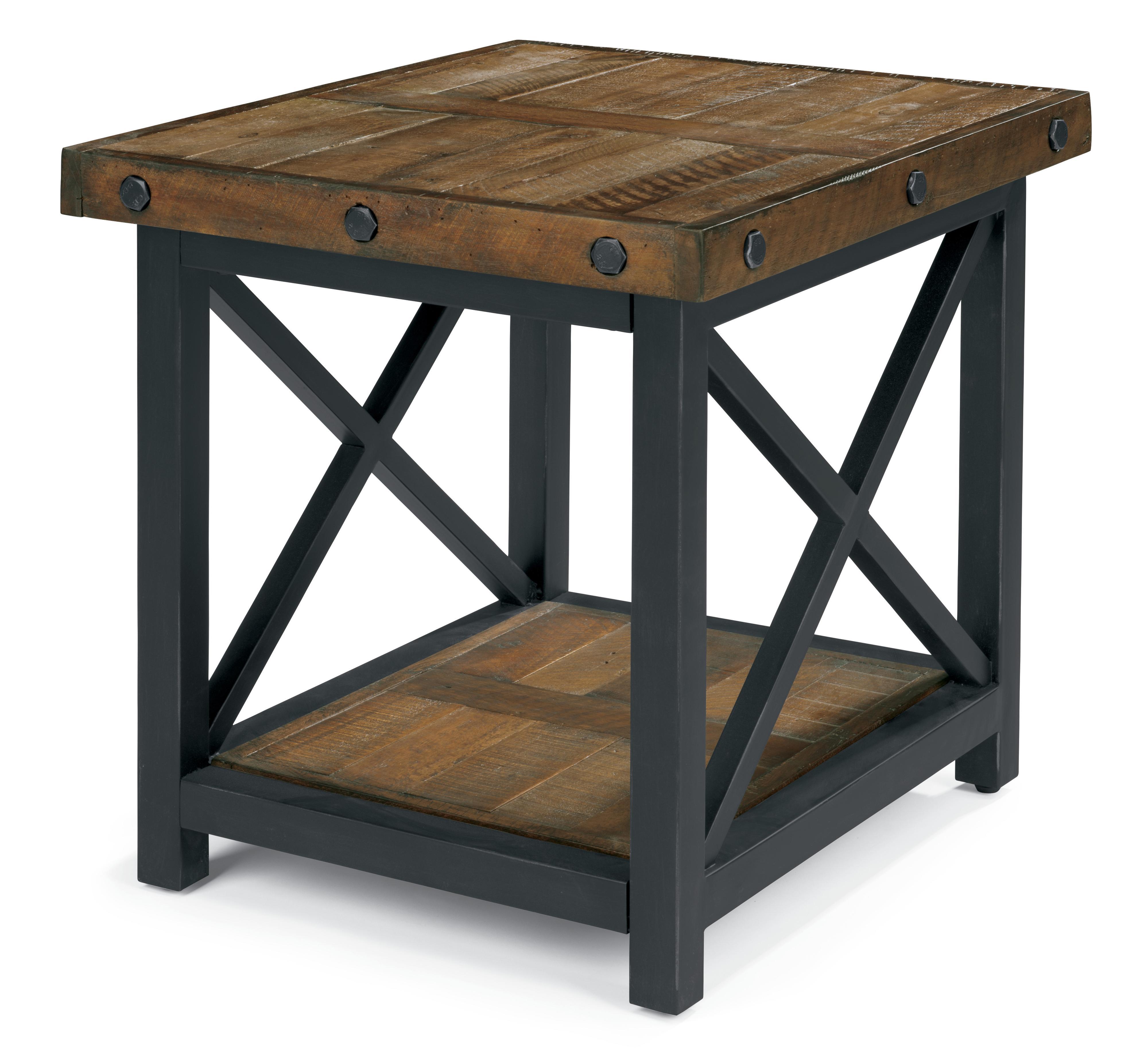 Incroyable Rectangle End Table With Metal Base