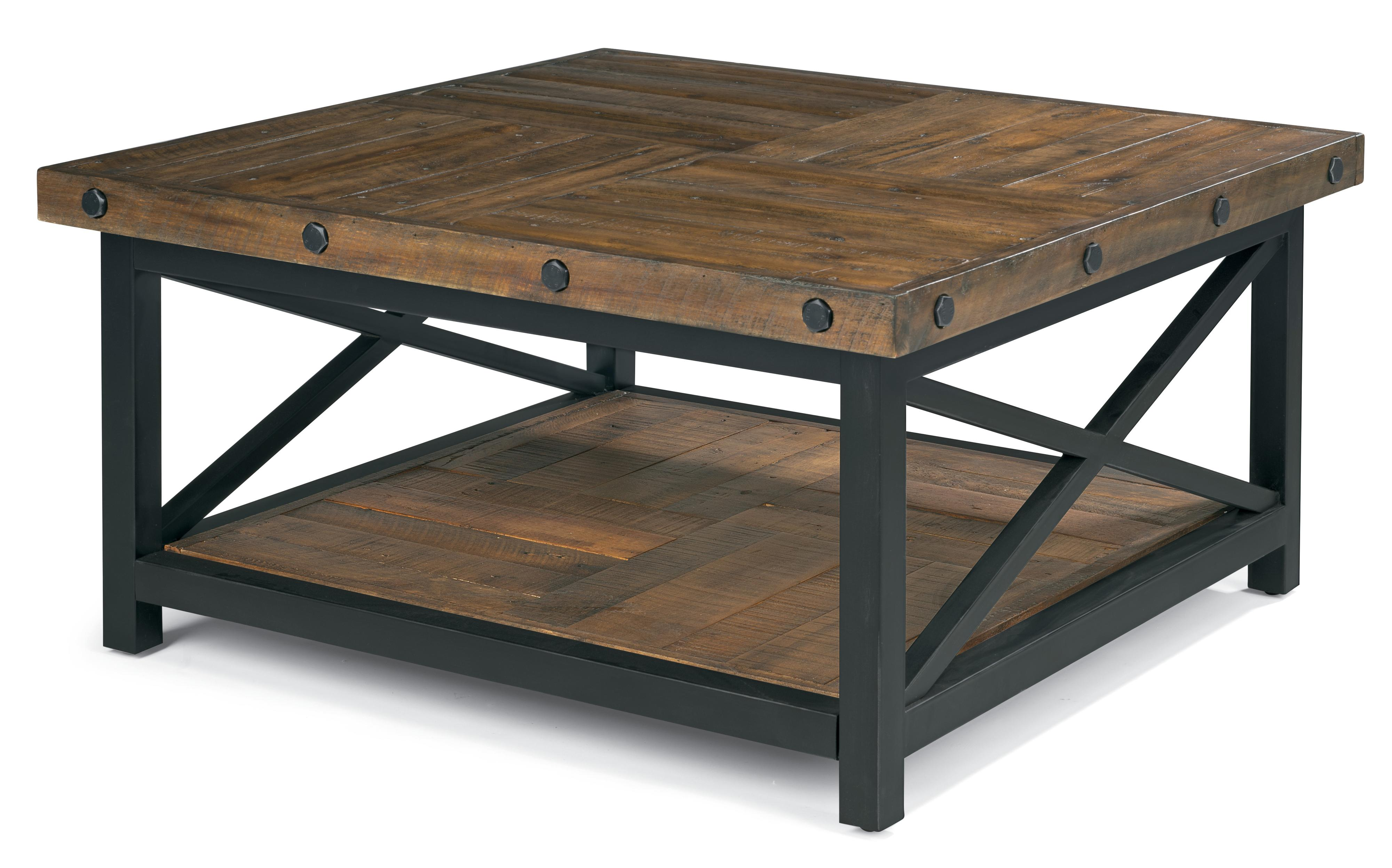 Square cocktail table with metal base and wood plank top by flexsteel wolf and gardiner wolf Metal square coffee table