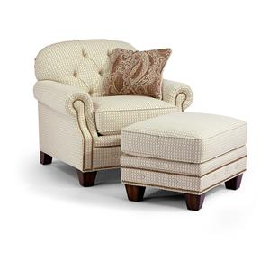 Flexsteel Champion Transitional Button Tufted Sofa With Rolled Arms And Nailheads Wayside