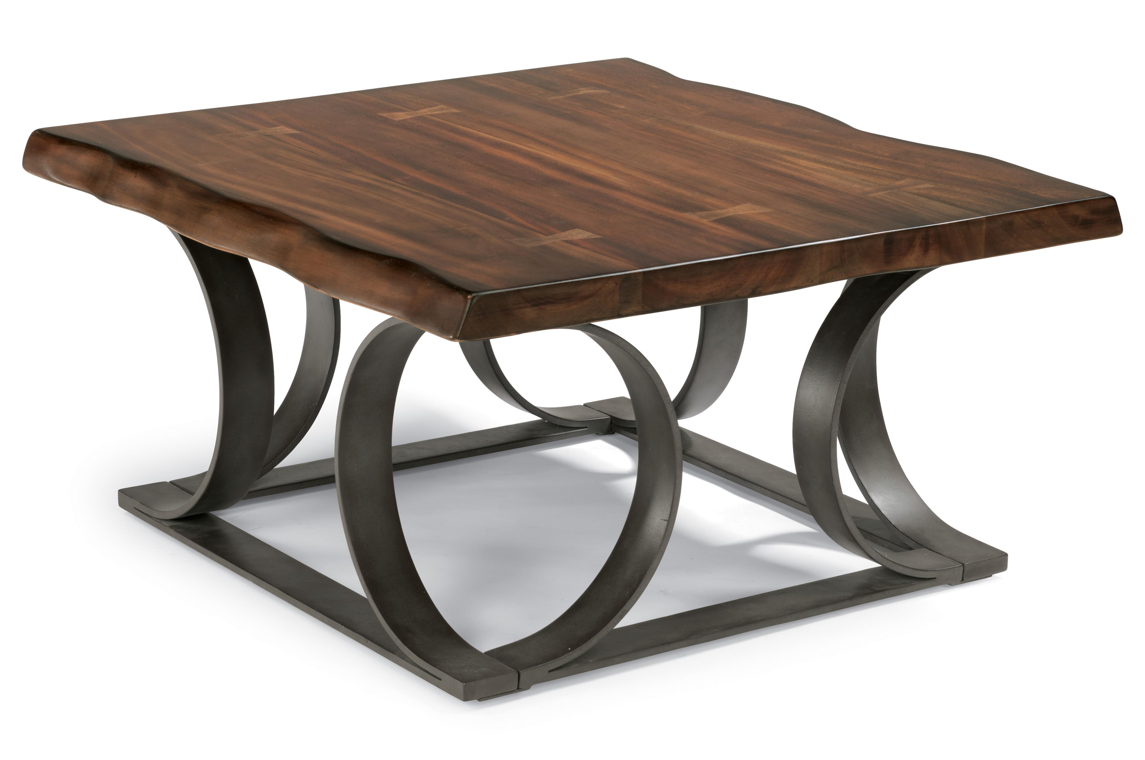 Rustic log cut square cocktail table with dark metal base