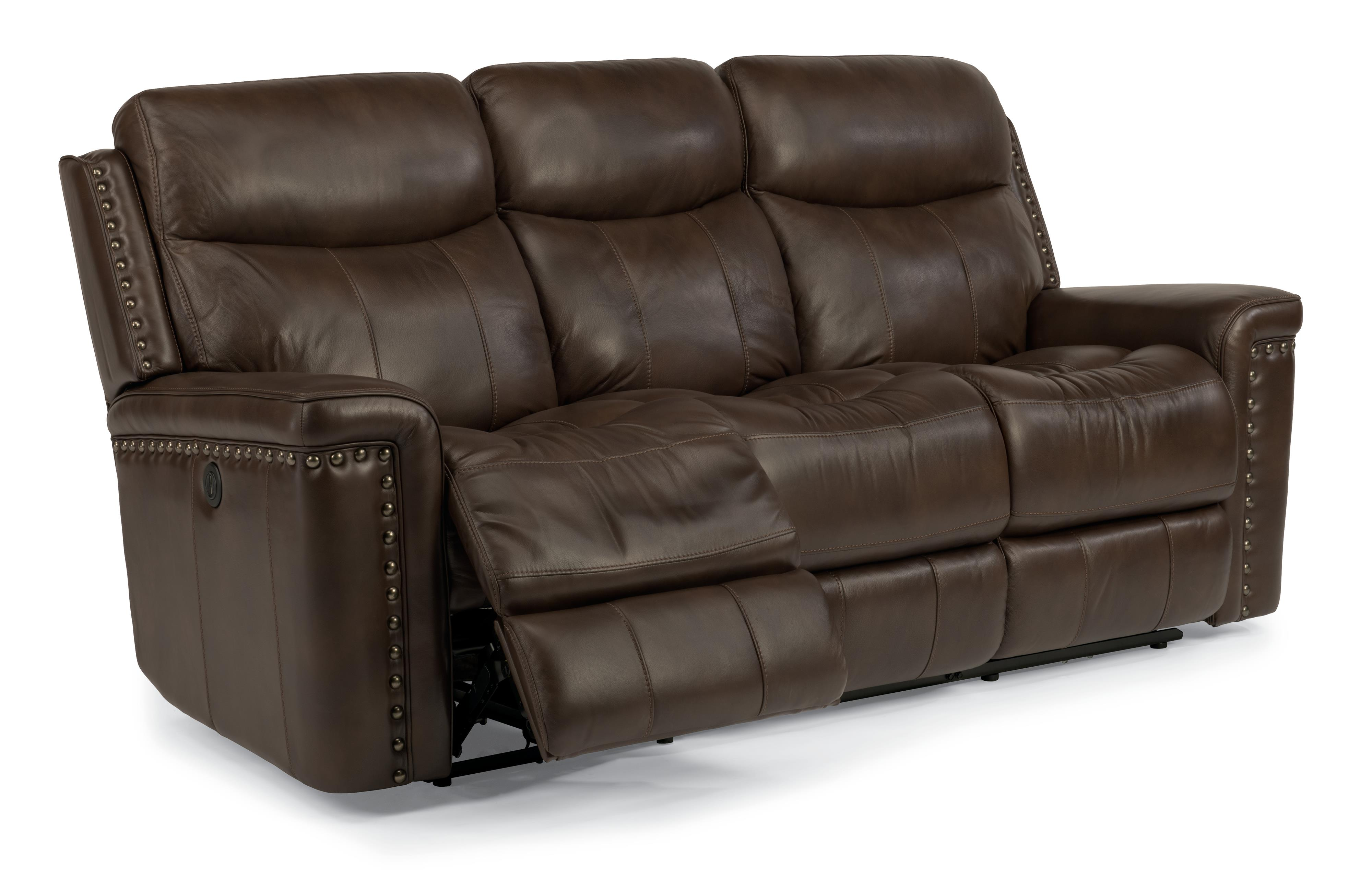 Top grain leather match power reclining sofa with nail Power reclining sofas and loveseats