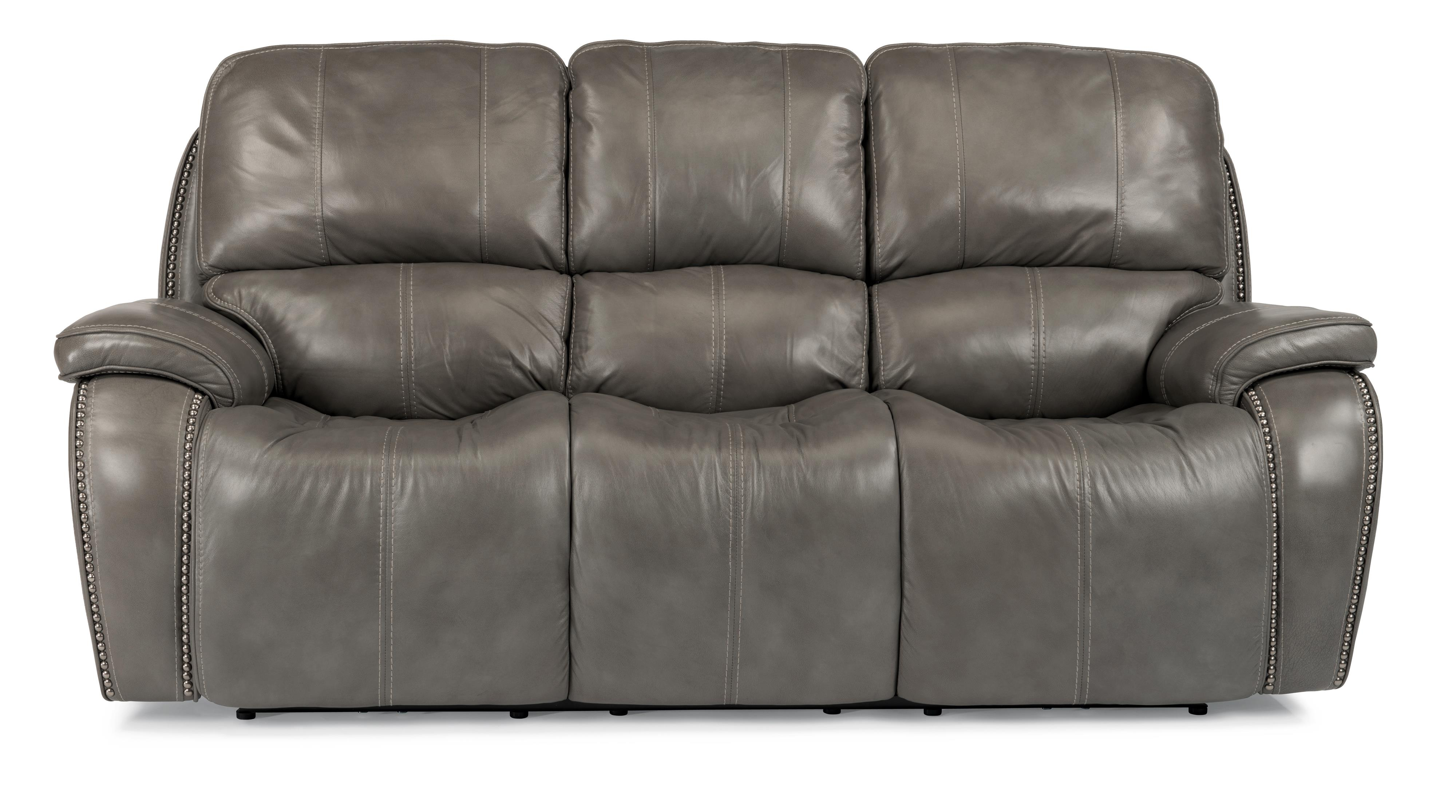 Power Reclining Sofa with Nailheads and USB Charging Ports by