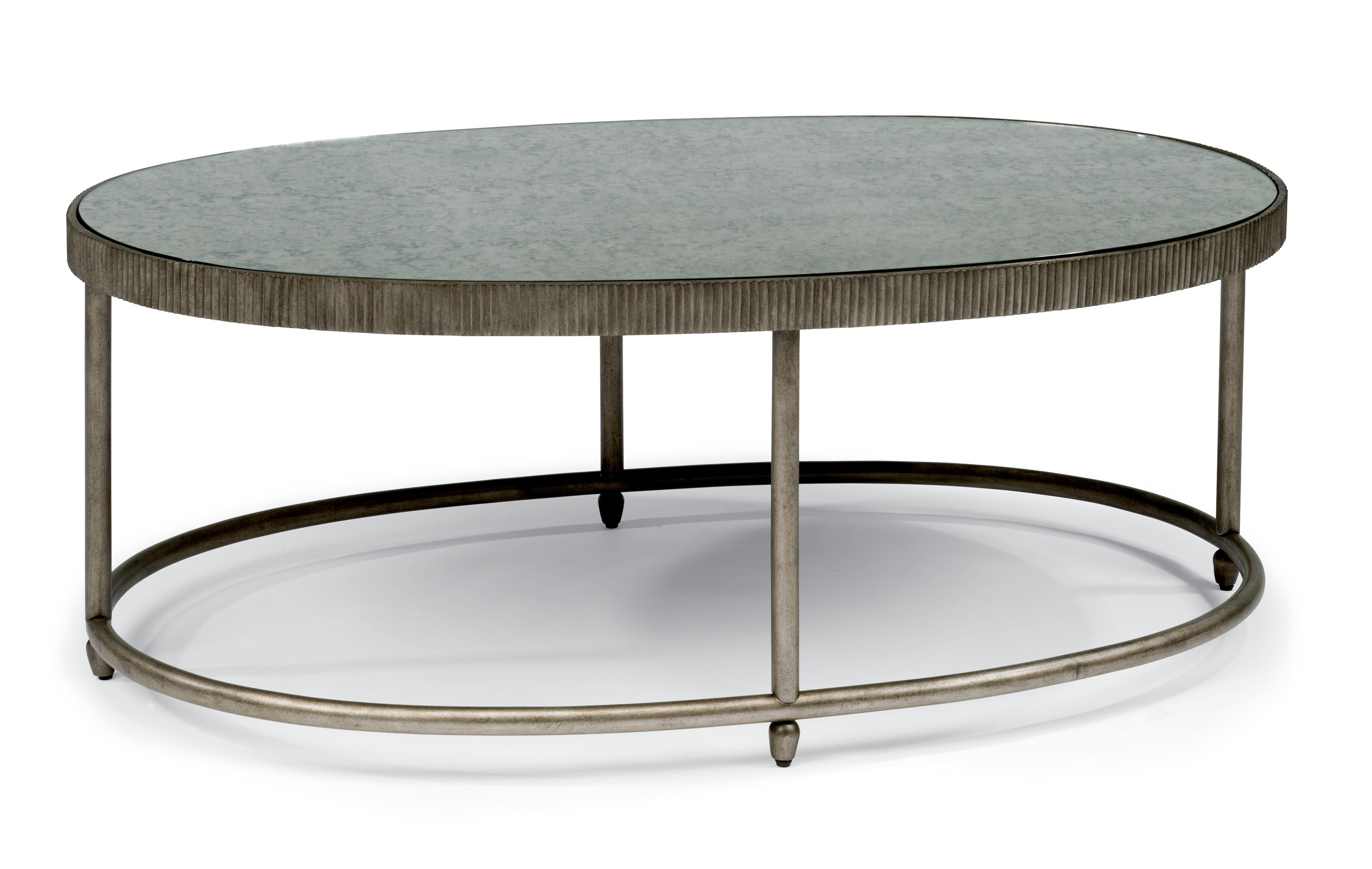 Transitional Oval Cocktail Table with Antiqued Mirror Top by