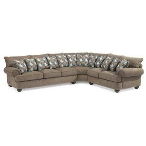Flexsteel Patterson  3 Pc Sectional Sofa w/ Nails