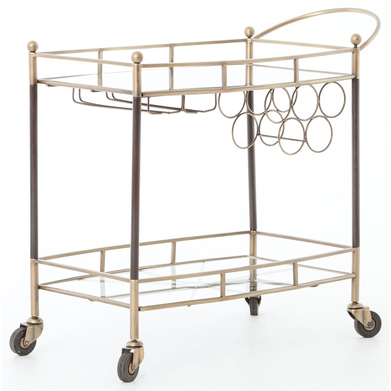 Coles Bar Cart Finished In Antique Brass