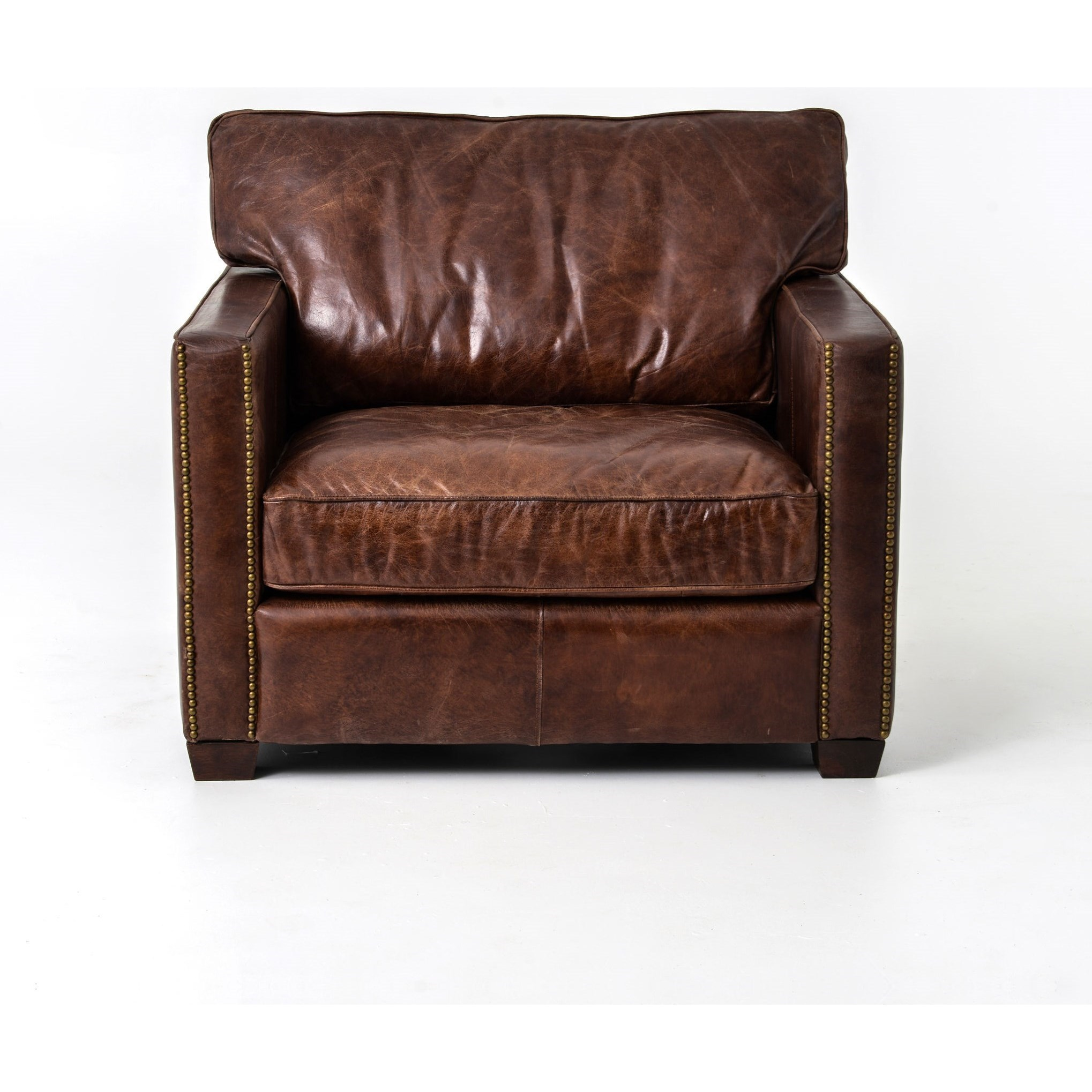 Ordinaire By Four Hands. Larkin Club Chair With Cigar Leather Upholstery