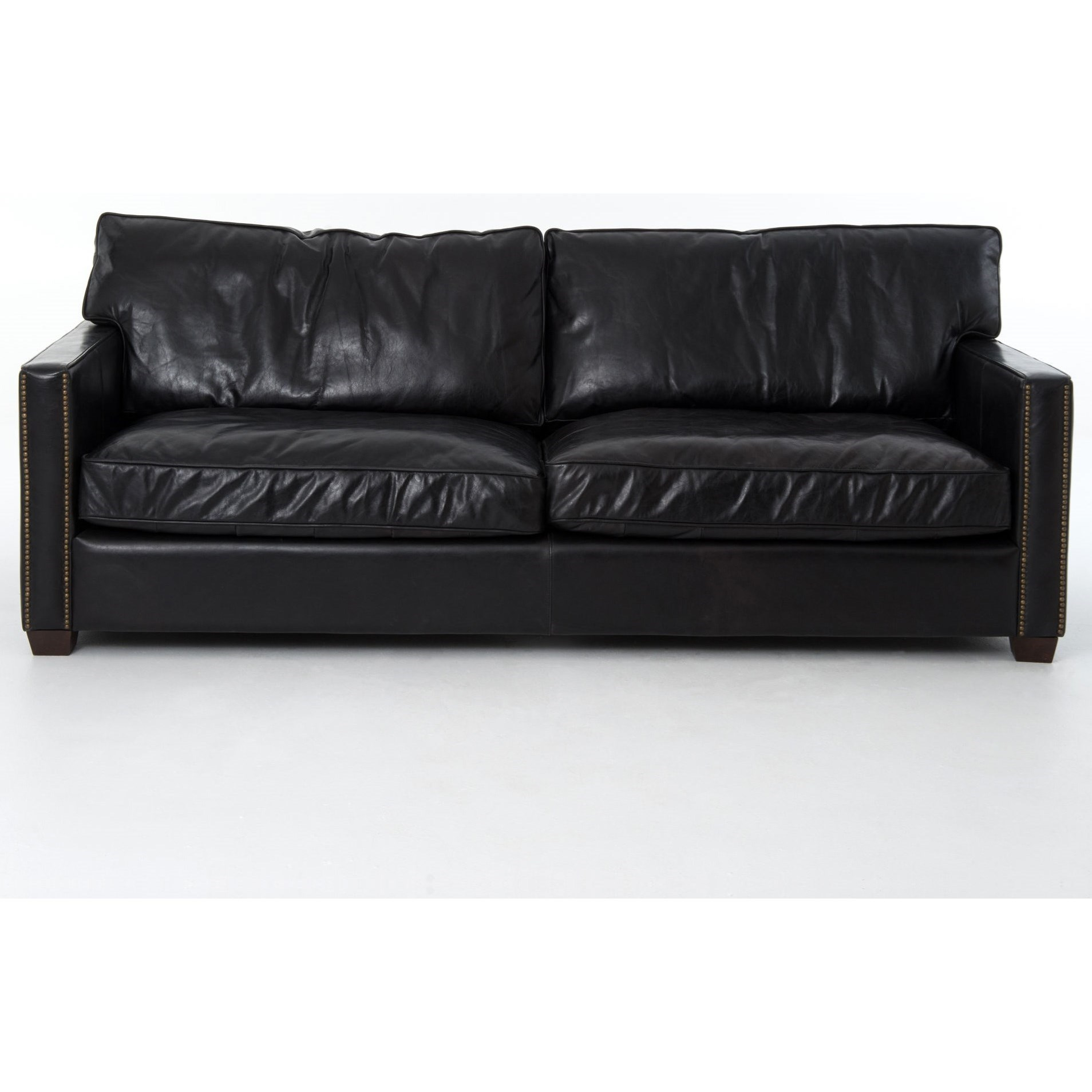 Larkin 88 Sofa With Old Saddle Black Leather By Four Hands Wolf