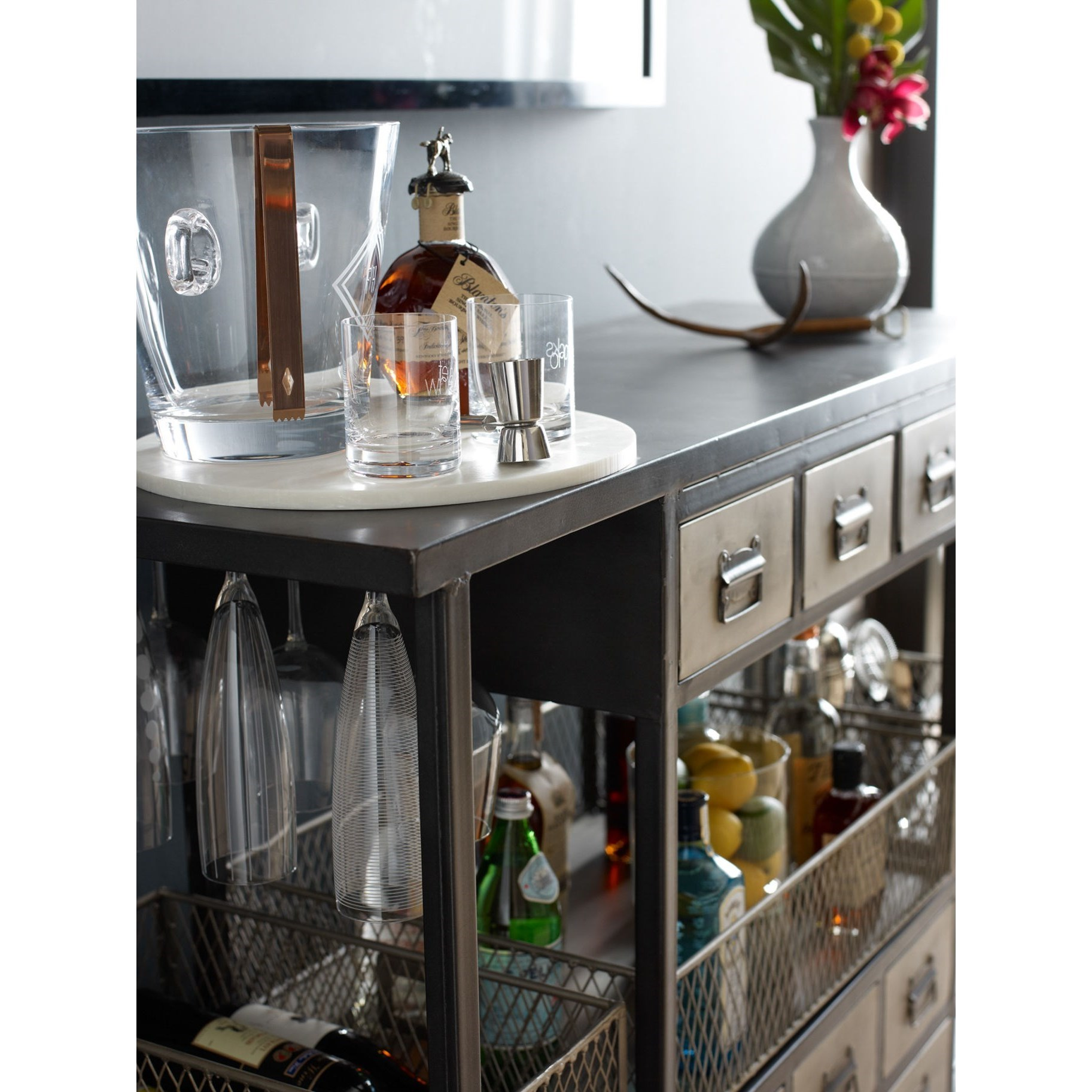 Industrial Bar Cabinet Industrial Bar Cart With Black Frame And Nickel Drawers By Four