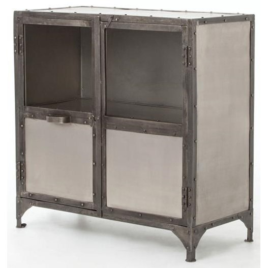 Industrial Metal Sideboard With Glass Doors By Four Hands Wolf And