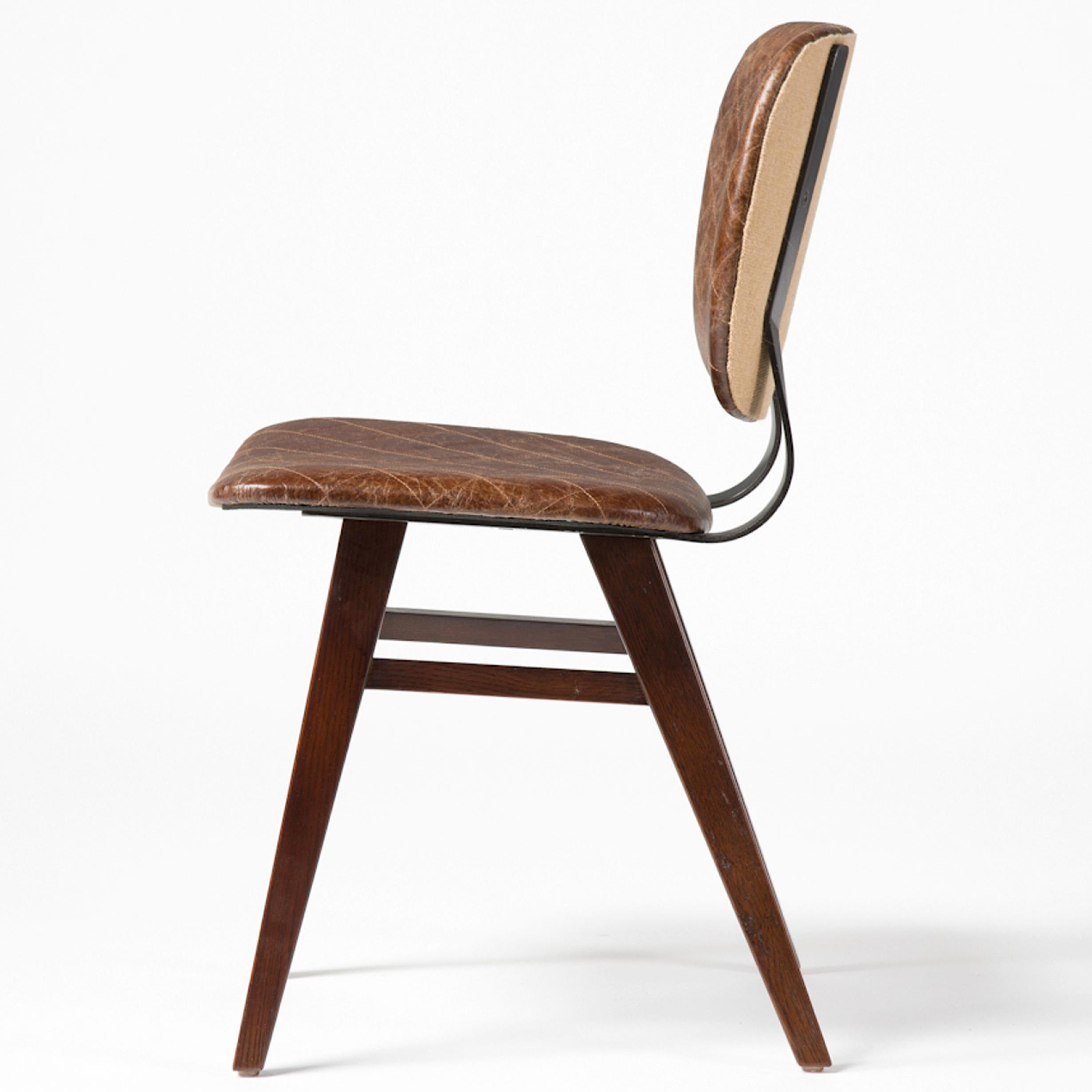 Industrial leather dining chair - Sloan Dining Chair With Quilted Upholstery