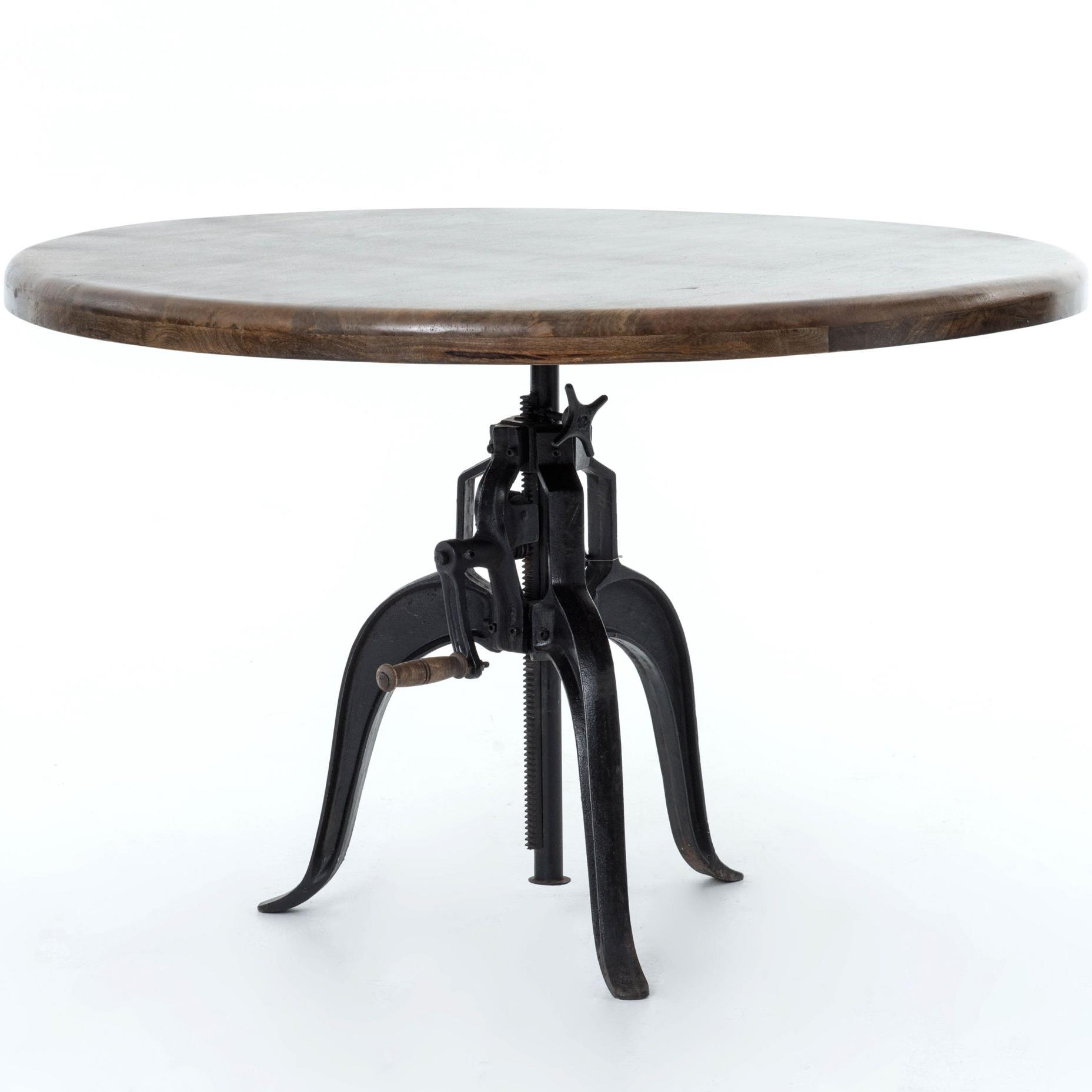 Adjustable Round Dining Table With Cast Iron Base