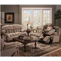 Franklin 524 Casual Reclining Sofa with Built-In Storage and Lighting - Shown with Rocking Recliner Loveseat