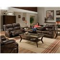 Franklin 6460 Casual Reclining Sofa with Fold Down Tray Table - Shown with Matching Loveseat