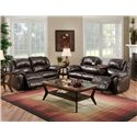 Franklin 691 92.5 Inch Reclining Sofa with Built-In Fold-Down Tray Table - Shown with Reclining Loveseat