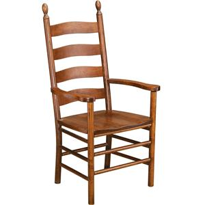 Greenbrier Dining Slat Back Arm Chair with Wooden Seat