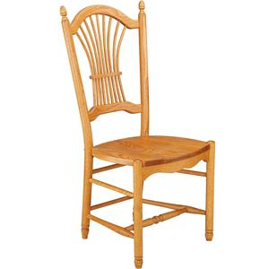 Greenbrier Dining Sheaf Back Side Chair with Wooden Seat