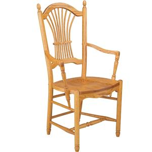 Greenbrier Dining Sheaf Back Arm Chair with Wooden Seat