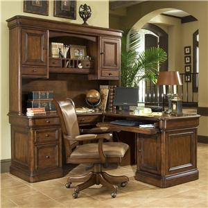 Golden Oak by Whalen Villa Tuscano Return Desk With Hutch
