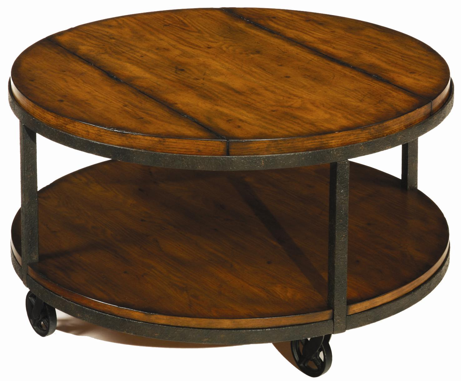Round Cocktail Table With Shelf And Wheels By Hammary Wolf And Gardiner Wolf Furniture