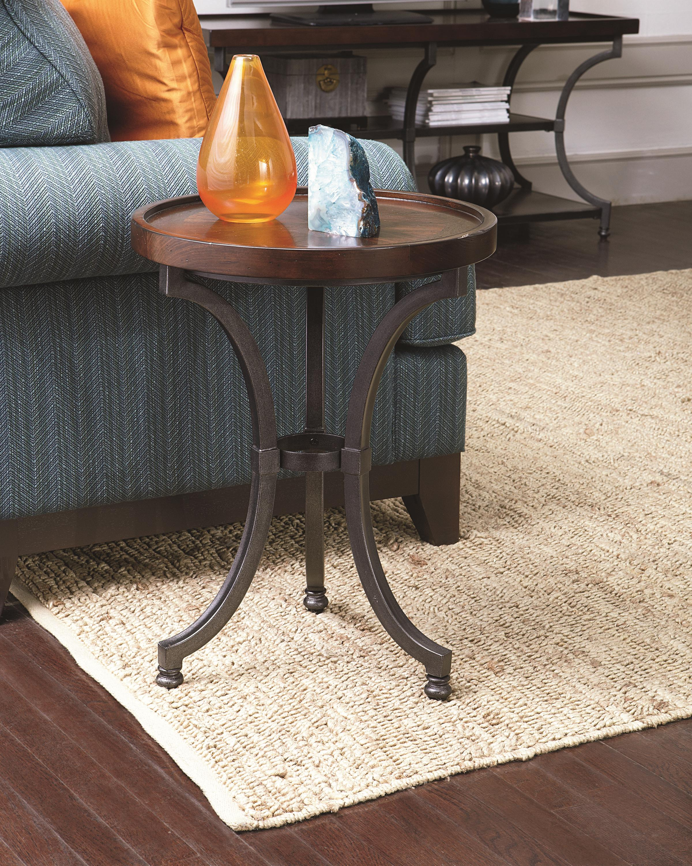 Round Chairside Table With Metal Base By Hammary Wolf