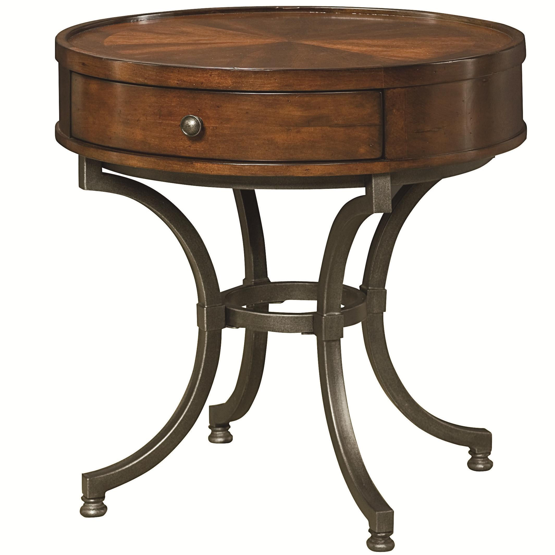 Round End Table With 1 Drawer By Hammary Wolf And
