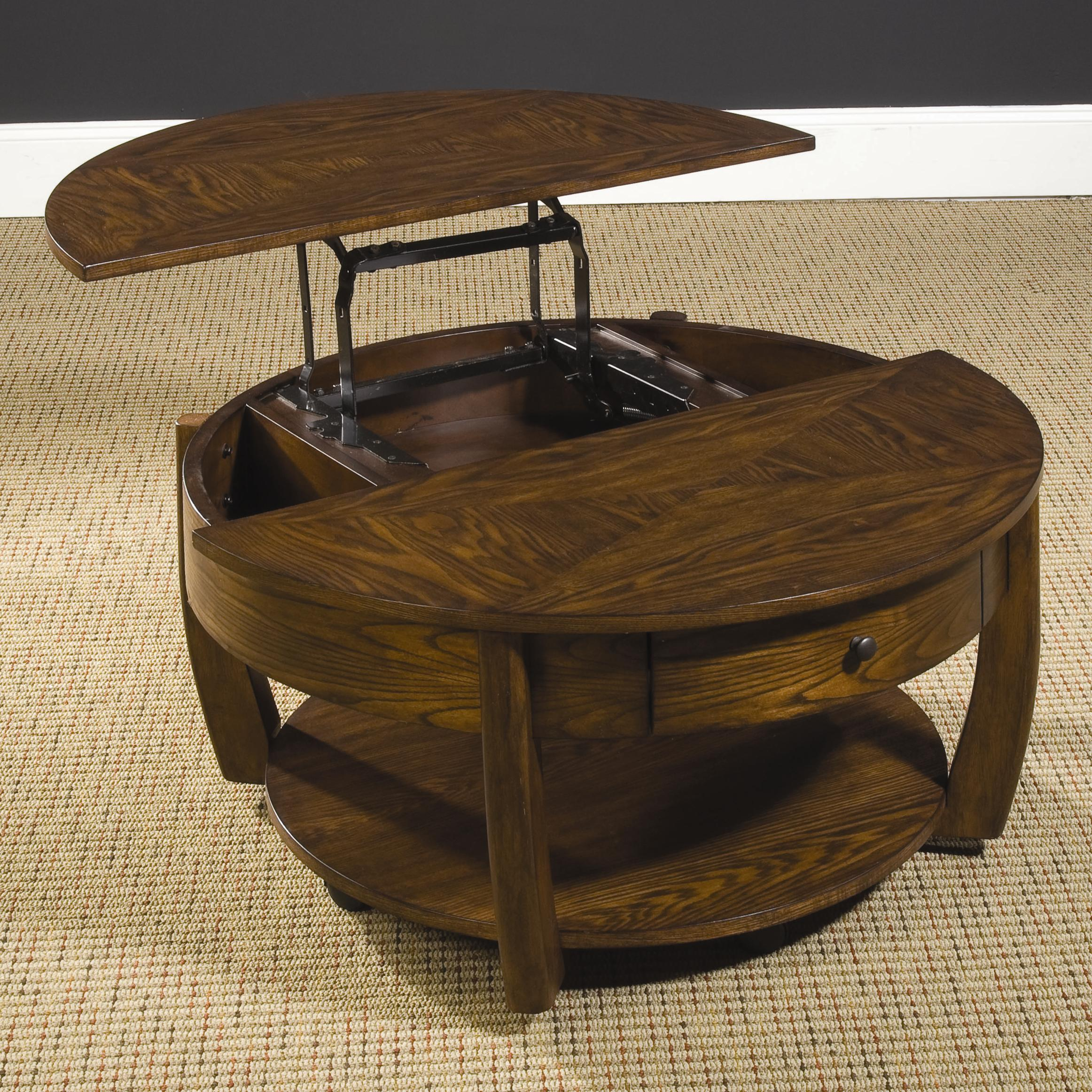 Round Lift Top Cocktail Table with Lower Shelf and Drawer by