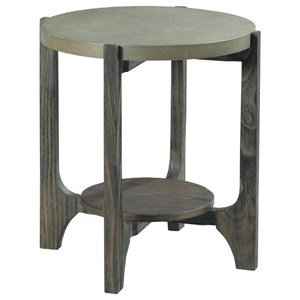 Industrial Round End Table with Concrete Top