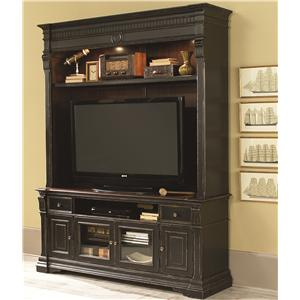 Entertainment Console with Hutch and 2 Glass Doors