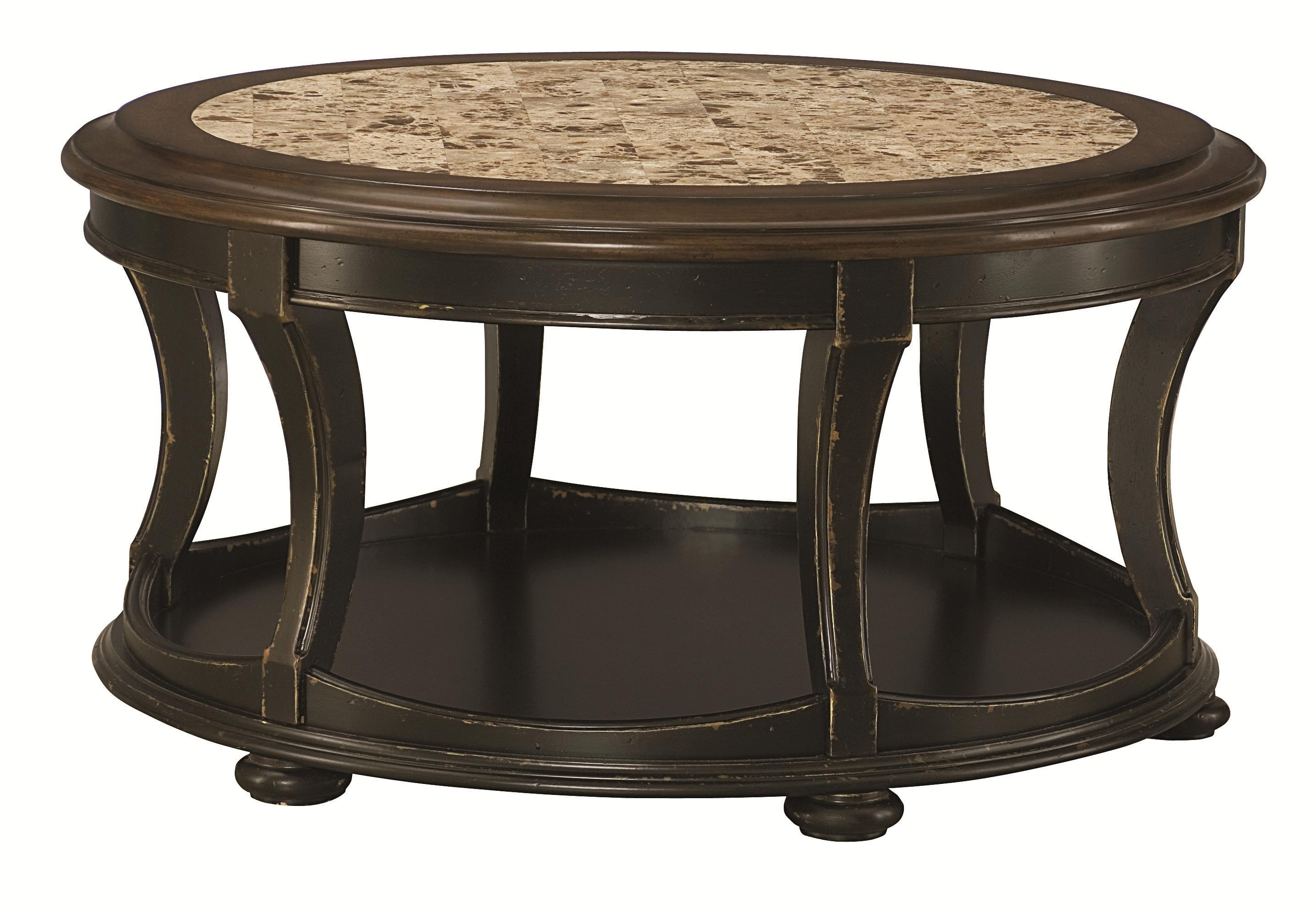 Round cocktail table with top stone inlay by hammary Round cocktail table
