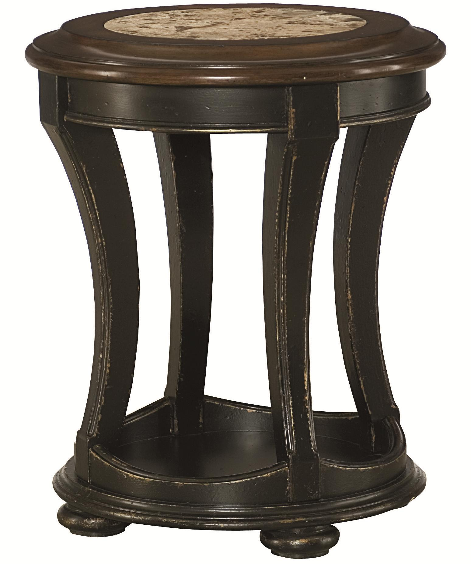 Round End Table With Top Stone Inlay