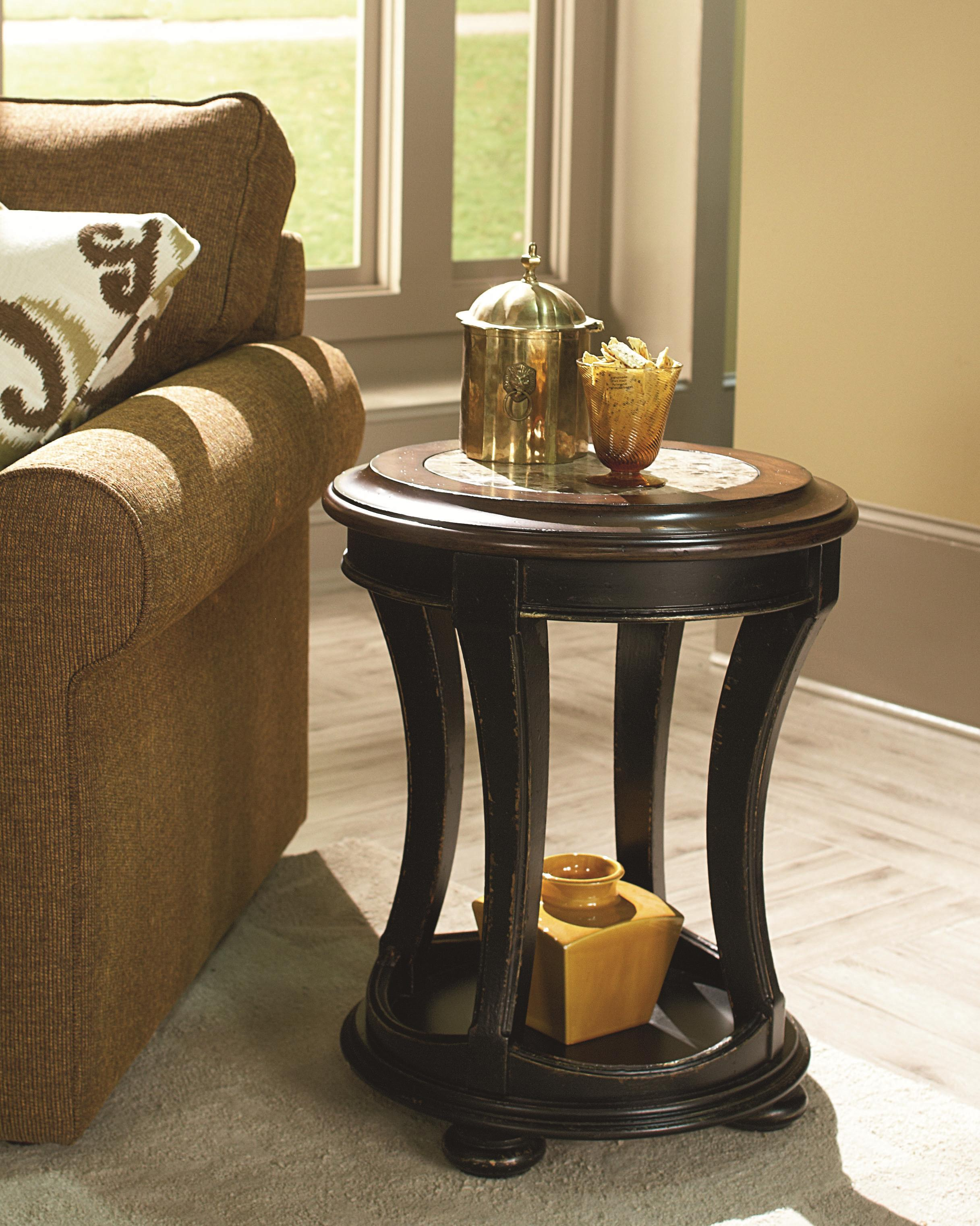 Round End Table With Top Stone Inlay By Hammary Wolf And