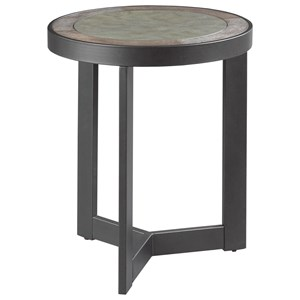 Industrial Round End Table with Concrete Inset
