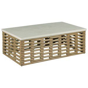 Rattan Coffee Table with Agate Top