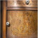 Hammary Hidden Treasures Demilune Accent Table - Ornamental Hardware and Paintings